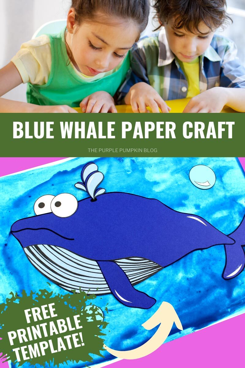Blue Whale Paper Craft - Free Printable Template