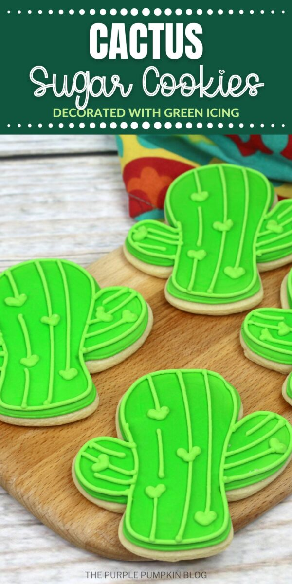 Cactus Sugar Cookies Decorated with Green Icing