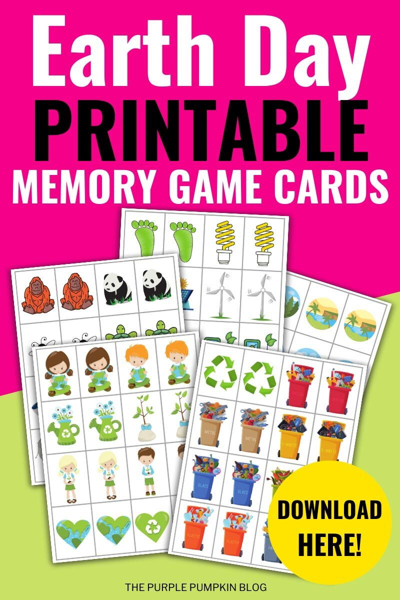 Earth Day Printable Memory Game Cards