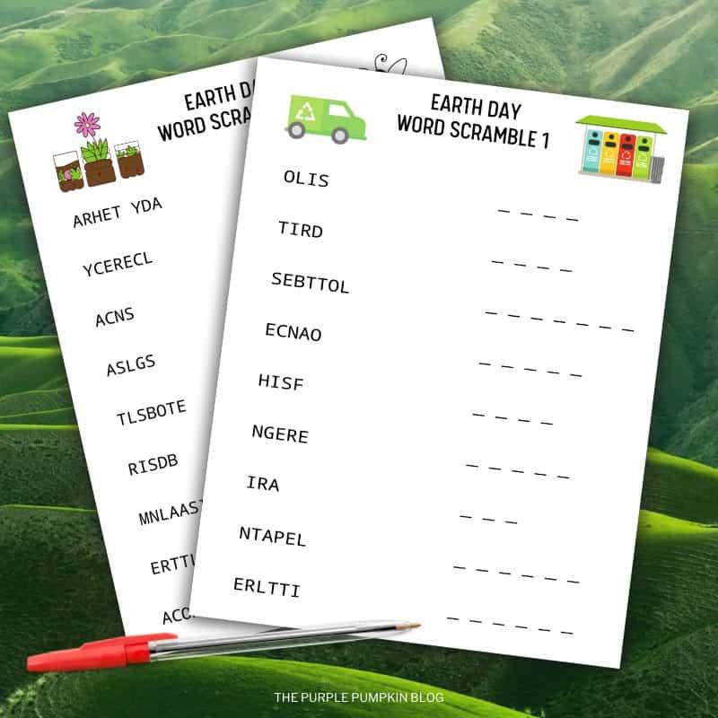 Earth Day Word Scramble Printable Sheets
