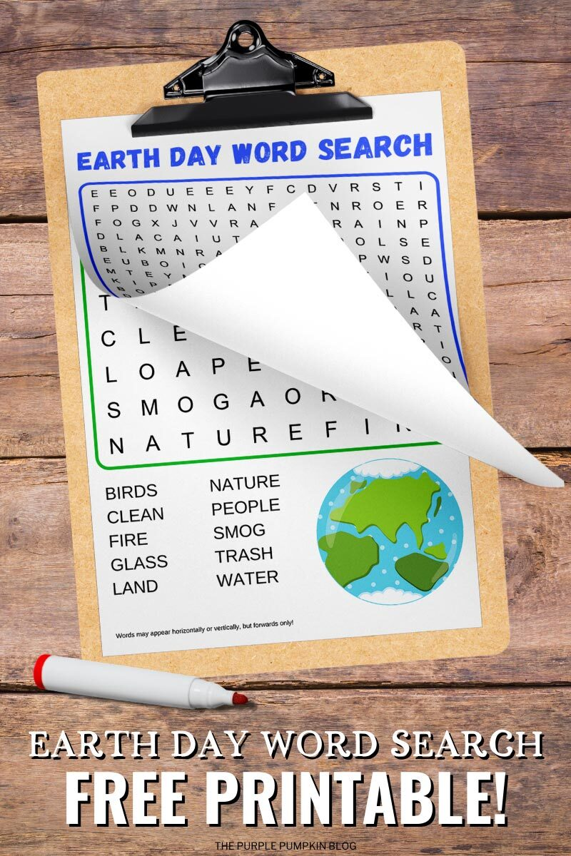 Earth Day Word Search Free Printable!