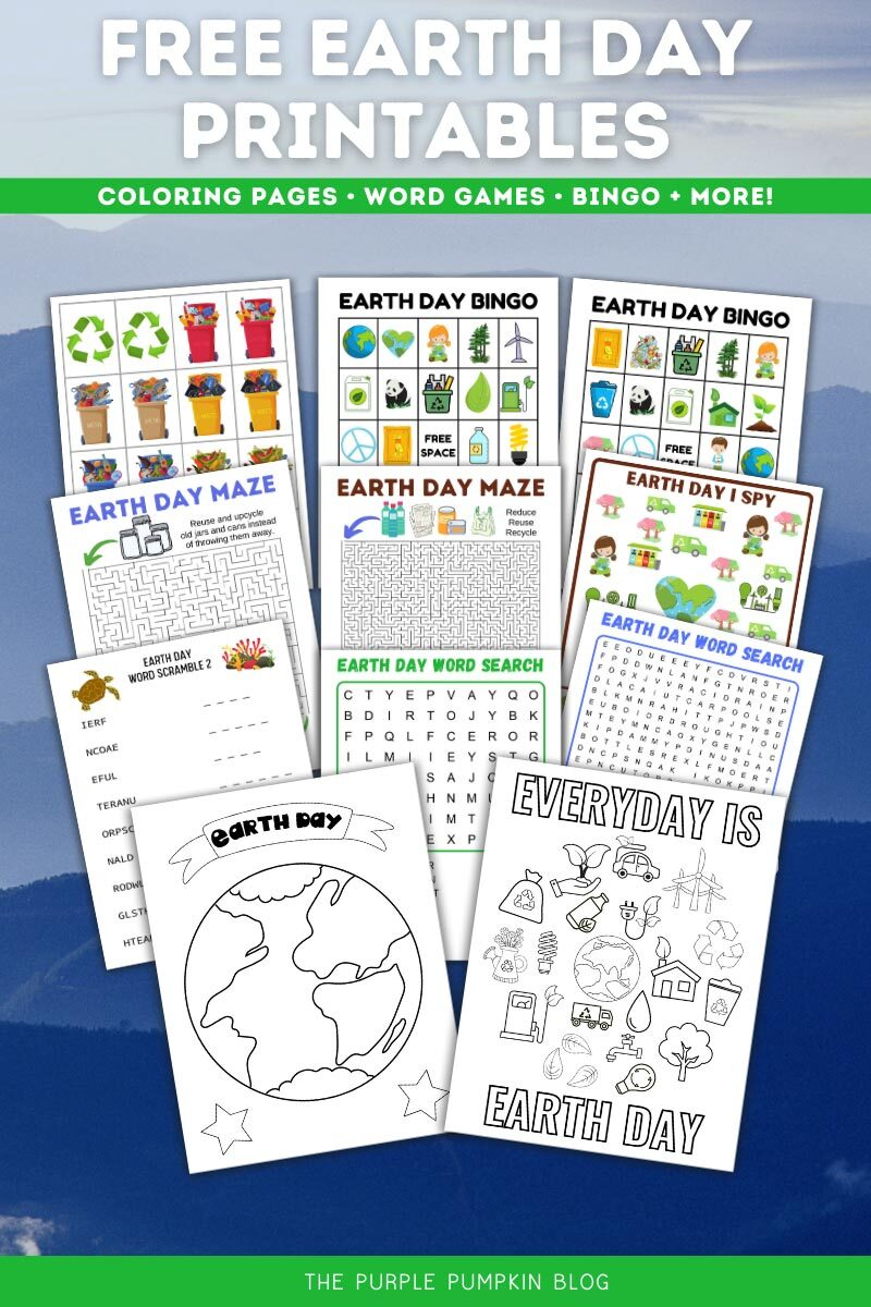 Free Earth Day Printables - Coloring Pages, Word Games, Bingo + More! Digital images of the printables