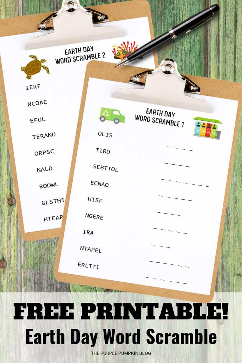 Free Printable Earth Day Word Scrambles