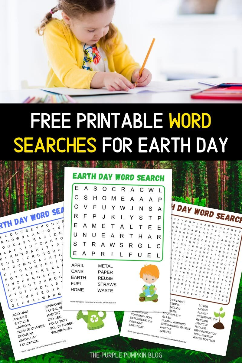 Free Printable Word Searches for Earth Day