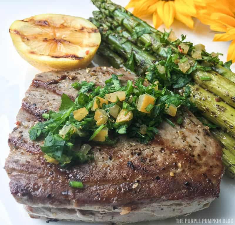 Grilled Tuna & Asparagus Gremolata