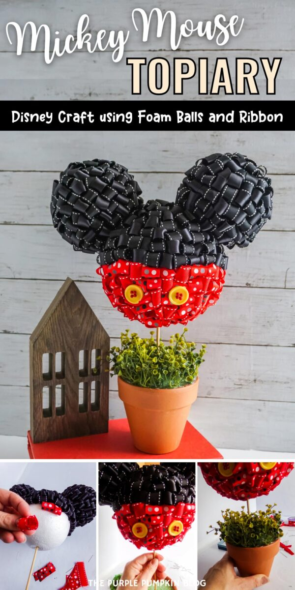 Mickey Mouse Topiary Craft with Foam Balls & Ribbon