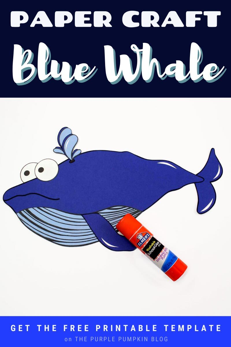 Paper Craft Blue Whale with Free Printable Template
