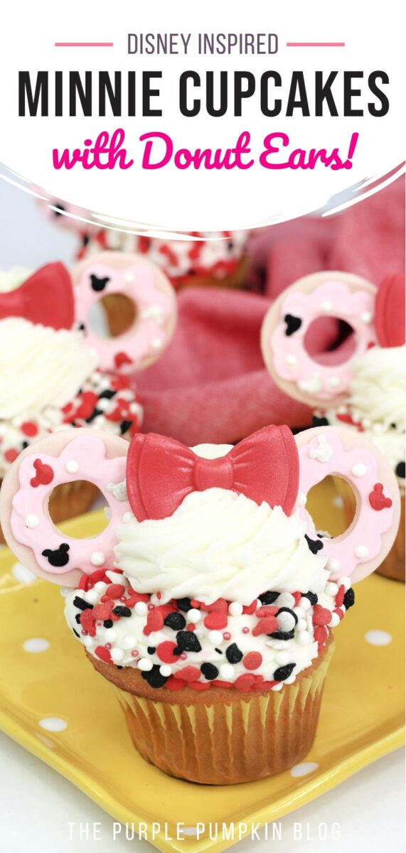 Disney Inspired Minnie Cupcakes with Donut Ears
