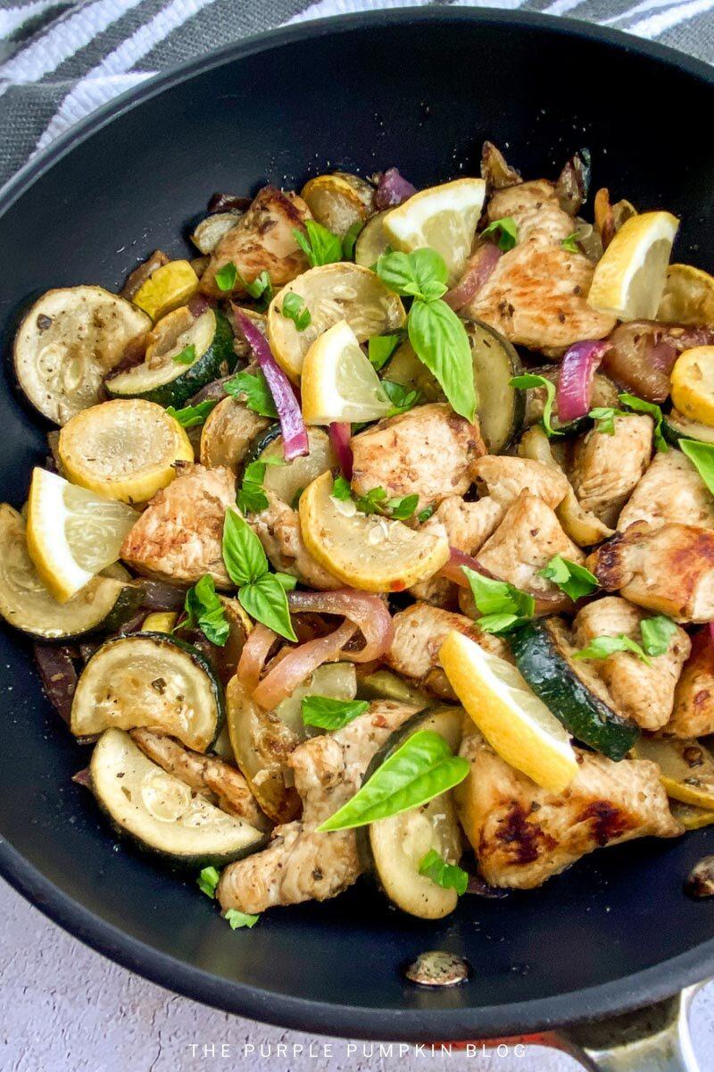 Lemon Chicken & Summer Squash in One Pan