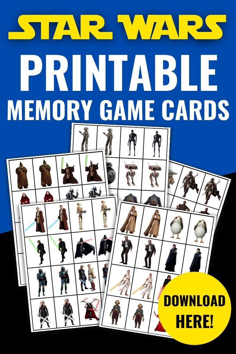 Star Wars Printable Memory Game Cards