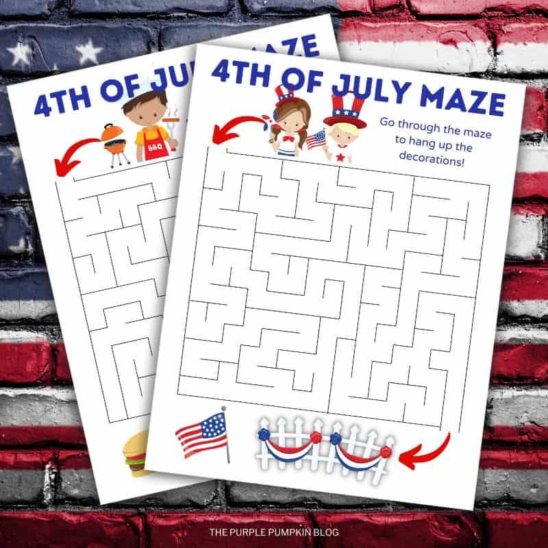 4th of July Maze Printables Set