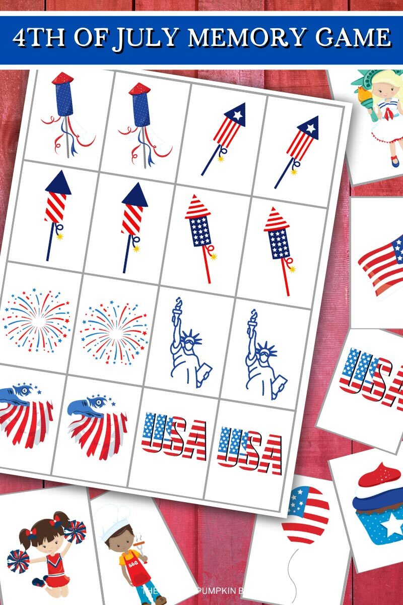 4th of July Memory Game to Print