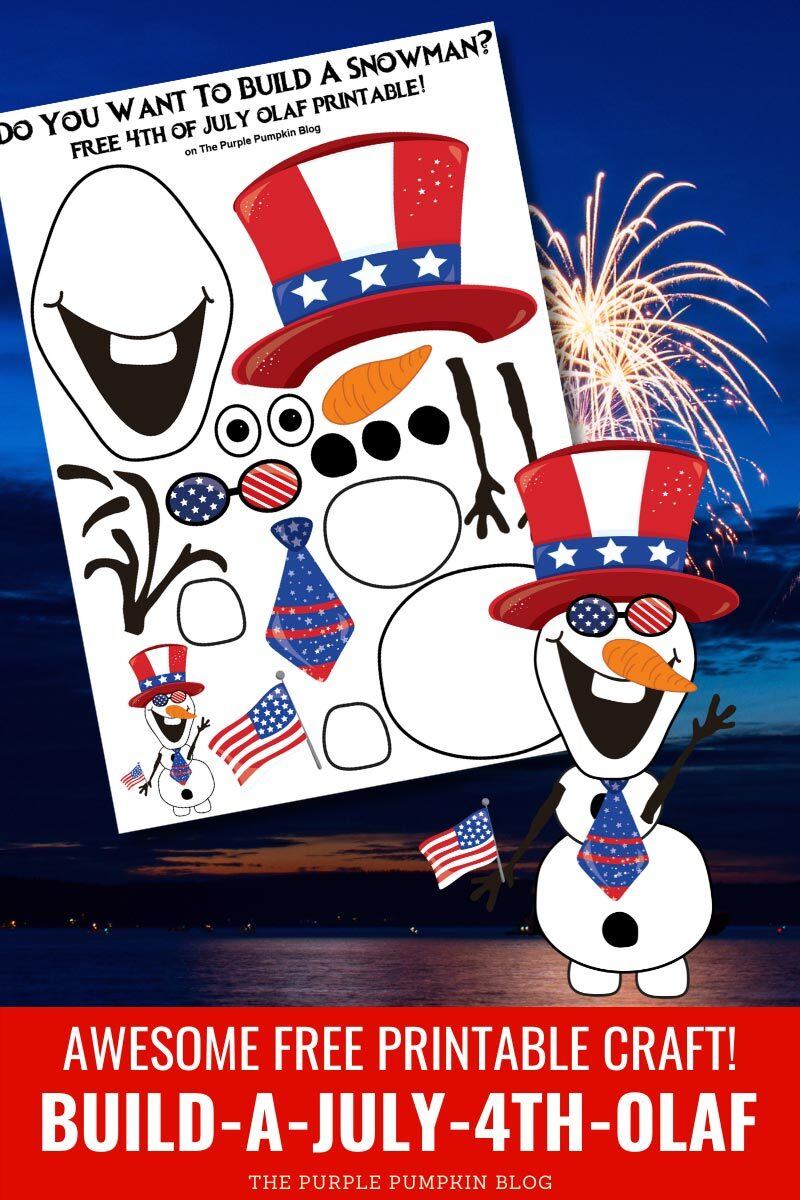 Awesome Free Printable Craft! Build-A-July-4th-Olaf