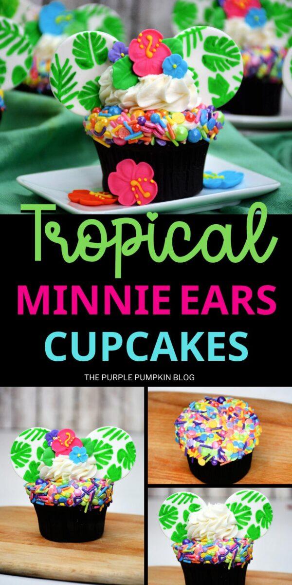 How to Make Tropical Minnie Ears Cupcakes
