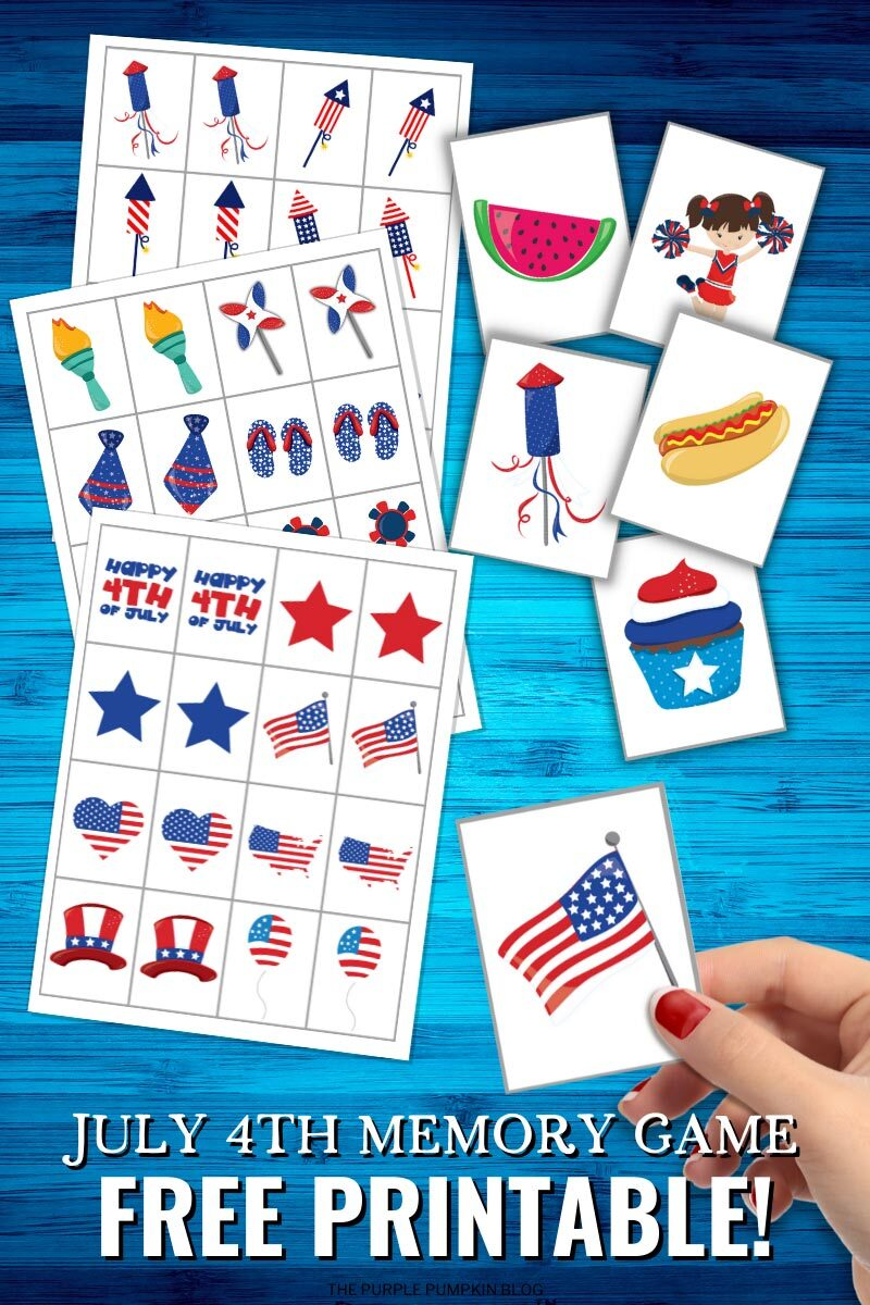 July 4th Memory Game Free Printable