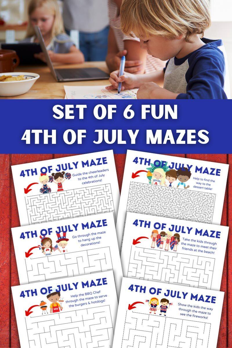 Set of 6 Fun 4th of July Mazes