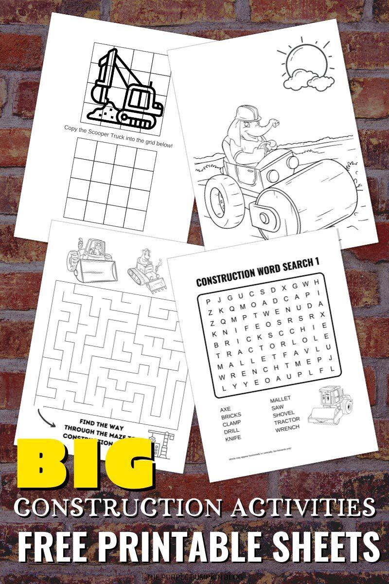 Big Construction Activities - Free Printable Sheets