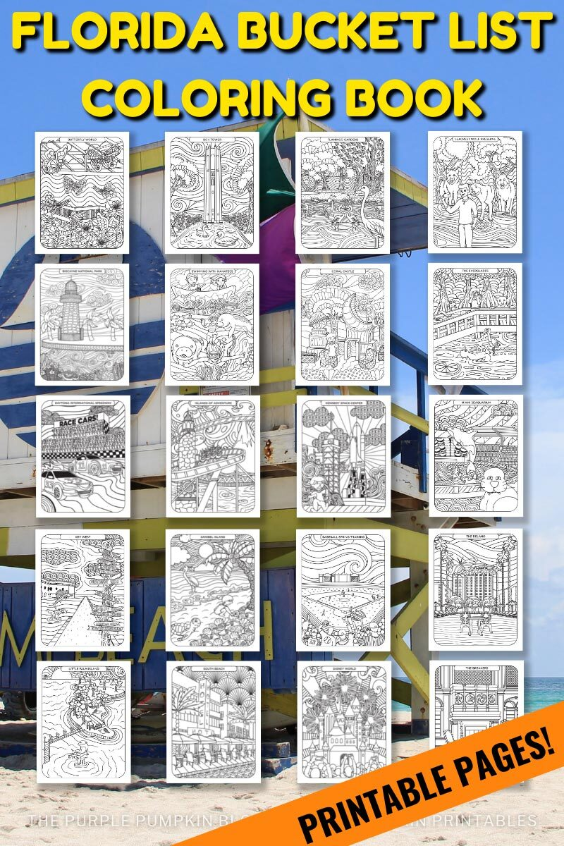 Florida Bucket List Coloring Book - Printable Pages