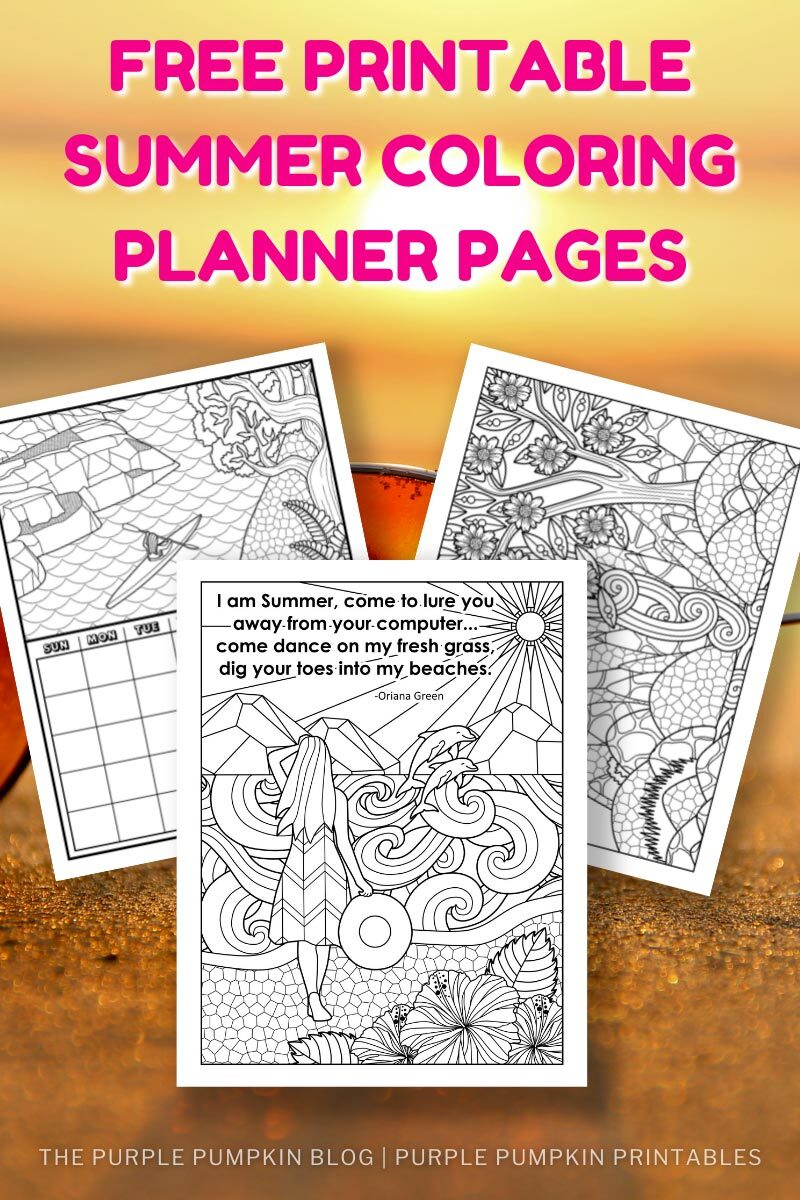 Free Printable Summer Coloring Planner Pages