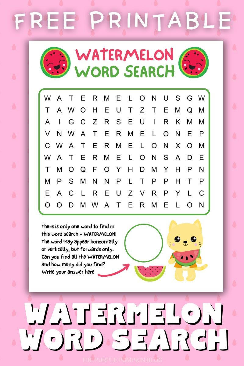Free Printable Watermelon Word Search Puzzle