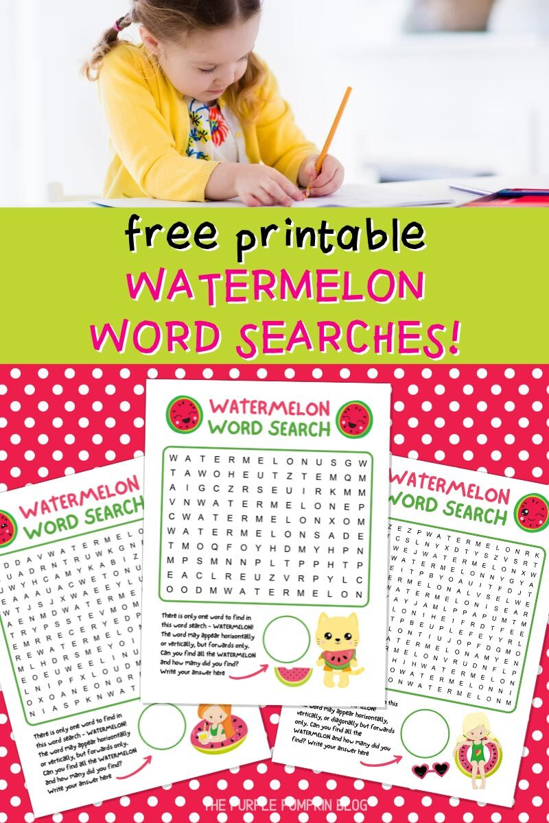 Free Printable Watermelon Word Searches for Kids
