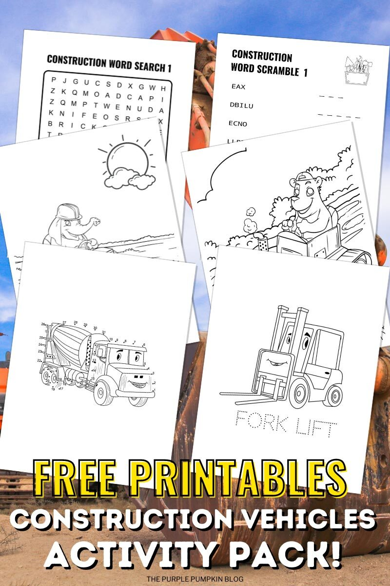 Free Printables - Construction Vehicles Activity Pack