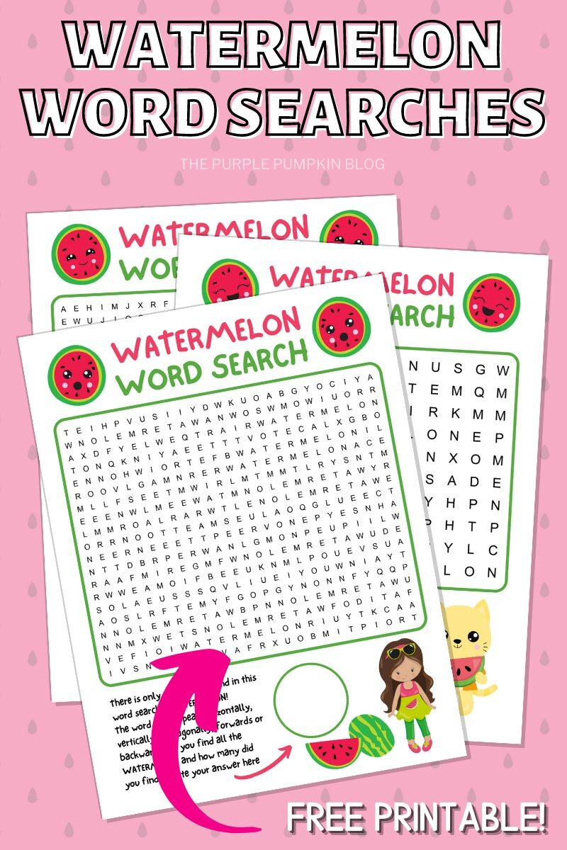 Watermelon Word Searches - Free Printable!