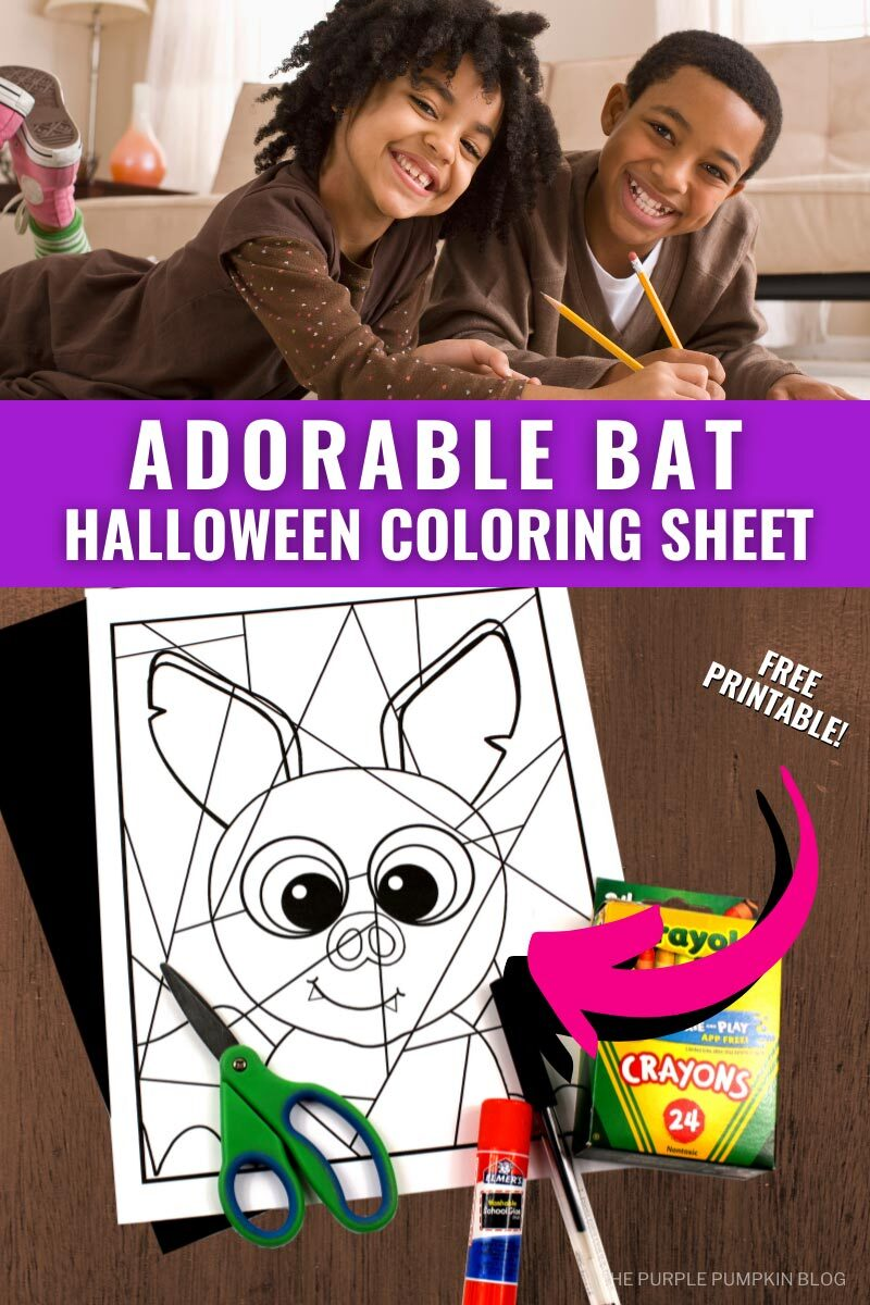 Adorable Bat Halloween Coloring Sheet
