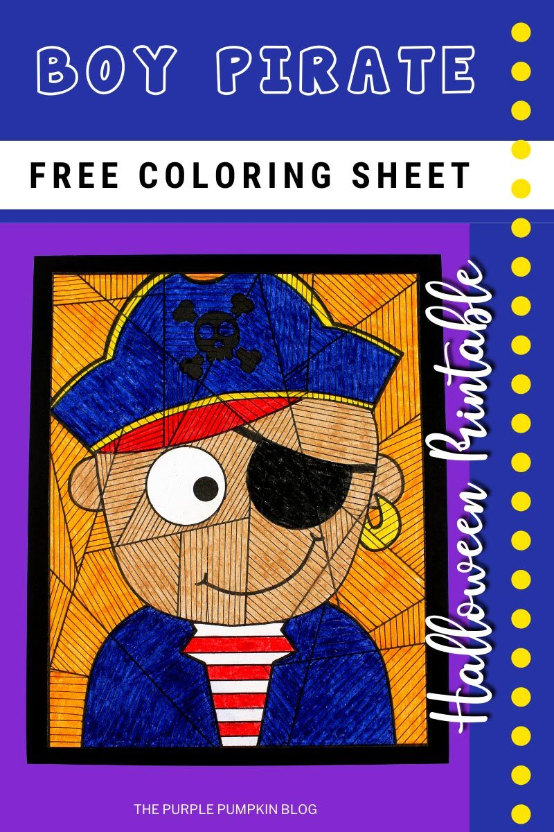 Boy Pirate Free Coloring Sheet for Halloween