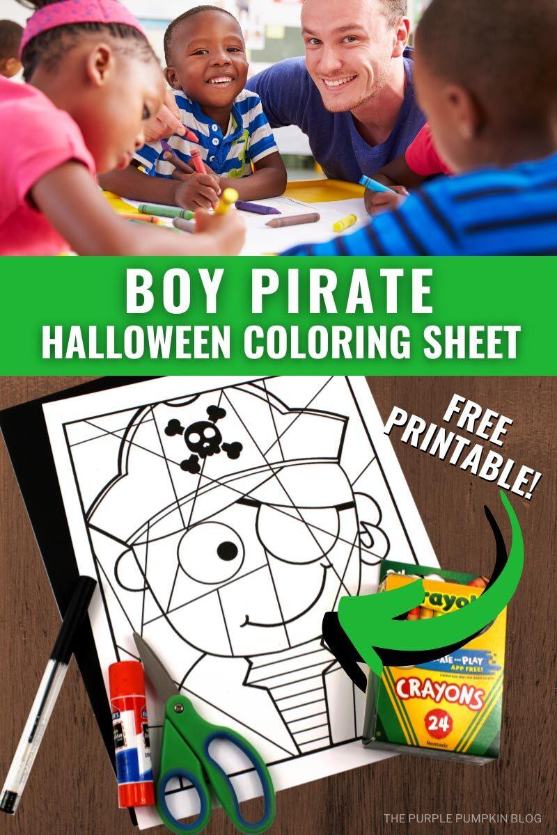 Boy Pirate Halloween Coloring Sheet