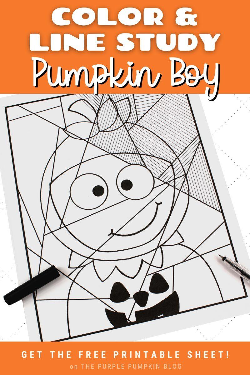 Color & Line Study Halloween Pumpkin Boy