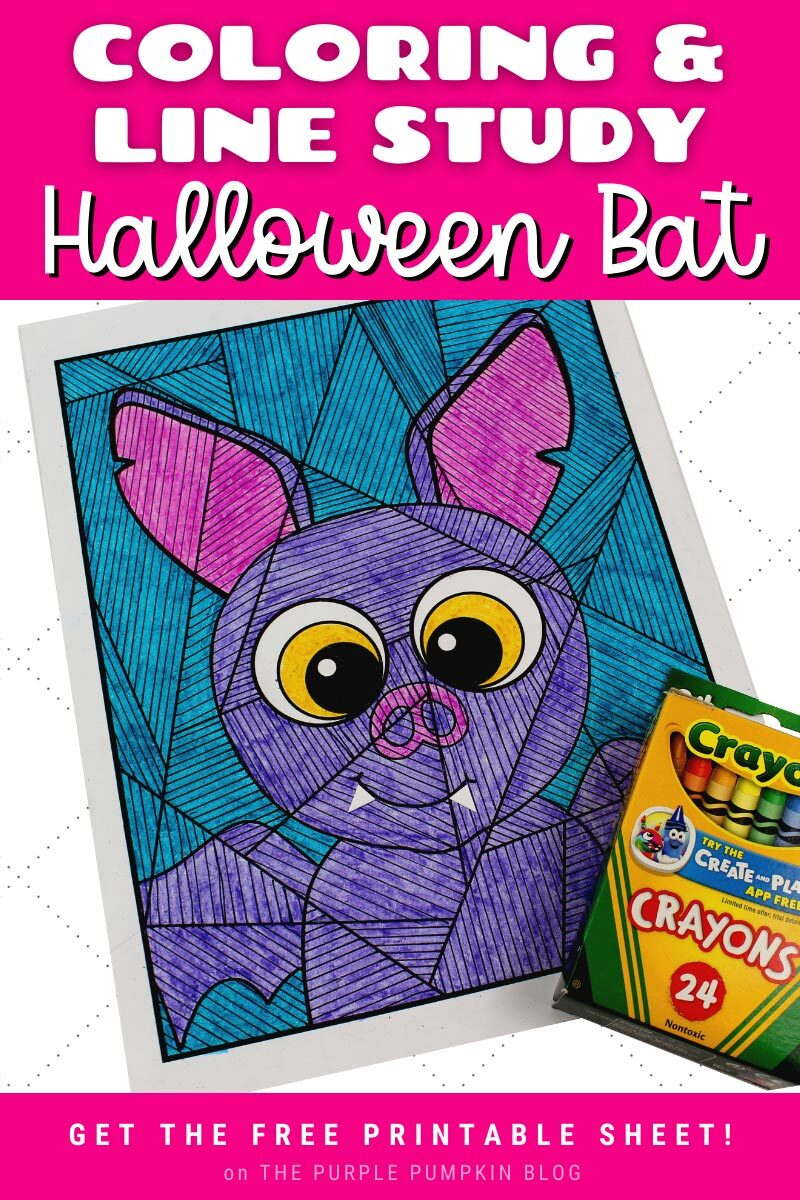 Coloring & Line Study Halloween Bat