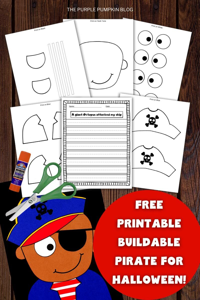 Free Printable Buildable Pirate for Halloween