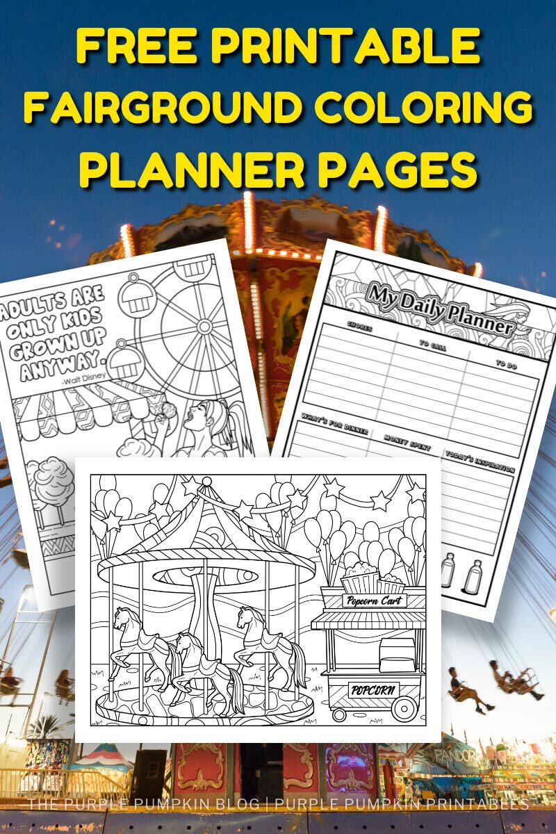 Two Free Printable Fairground Coloring Pages for Adults to Download!