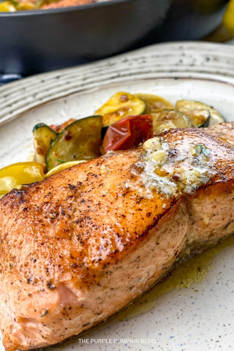 Fried Crispy Salmon with Herb Butter