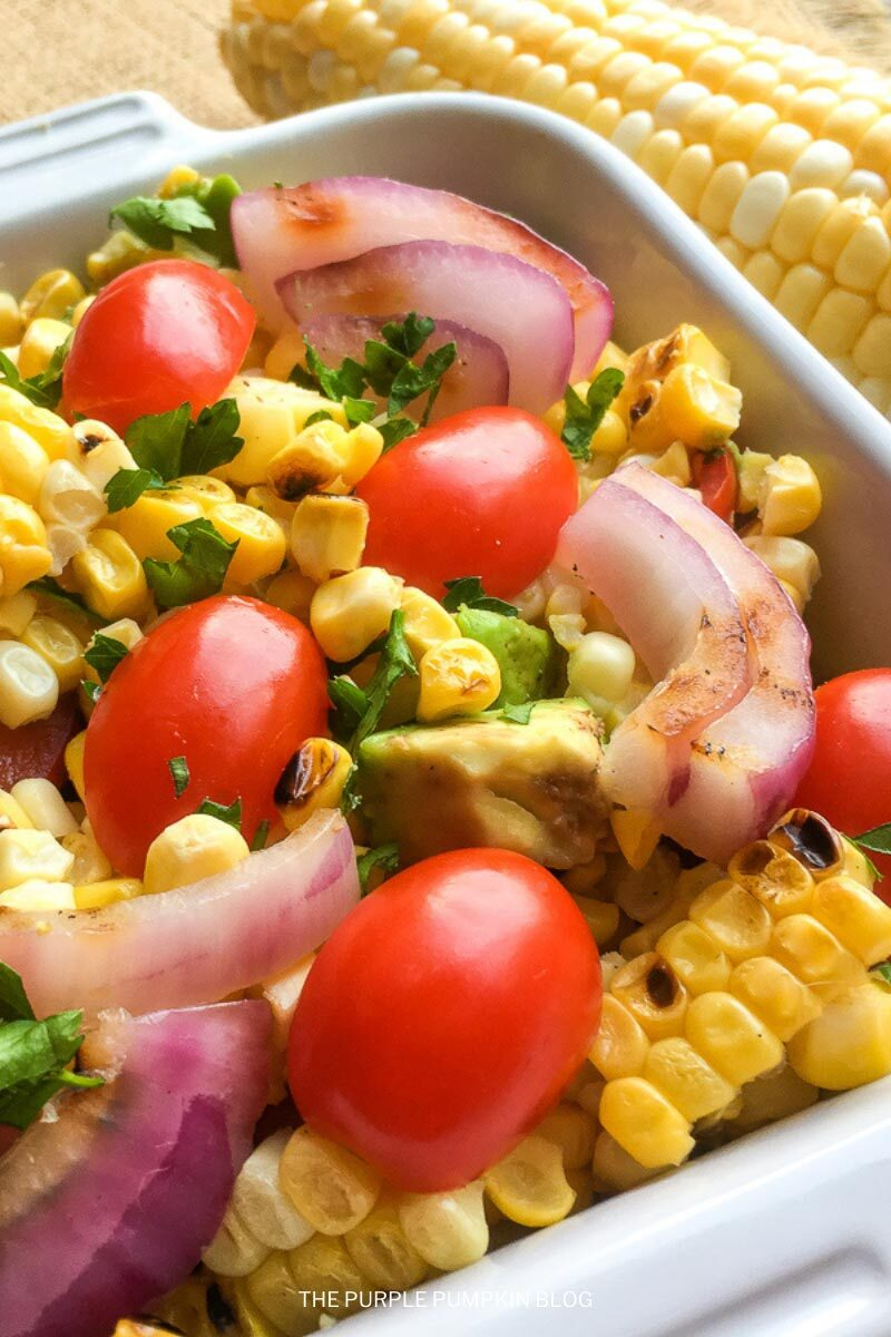 Grilled Corn Salad with Tomatoes, Onion & Avocado