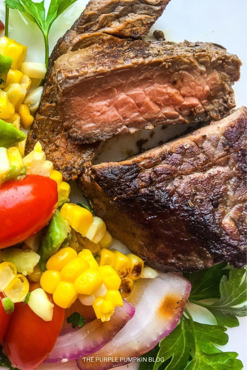 Herb Mustard Steak with Corn Salad