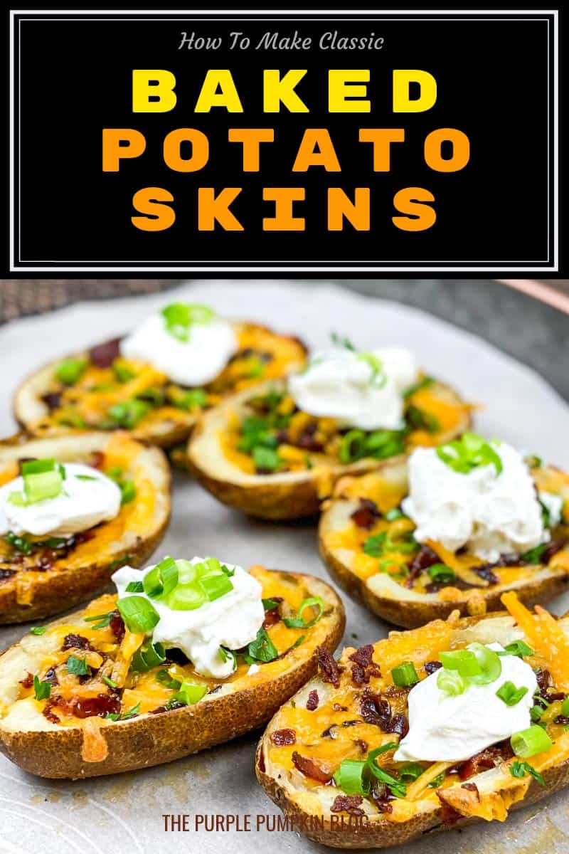 A plate of cheese and bacon potato skins topped with sour cream and green onions. Text overlay says