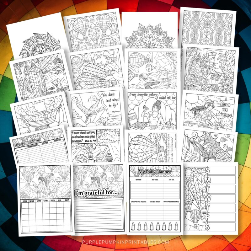 Printable 35-Page Coloring Journal - Hot Air Balloon Theme