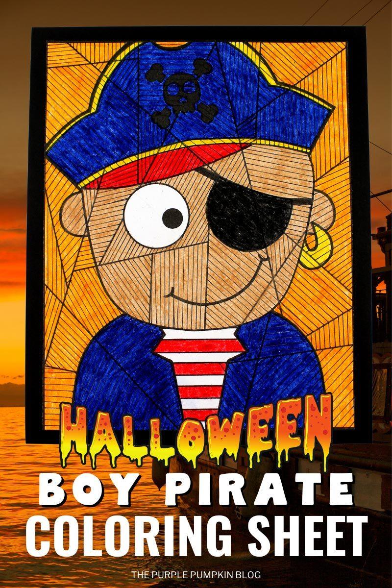 Printable Halloween Boy Pirate Coloring Sheet