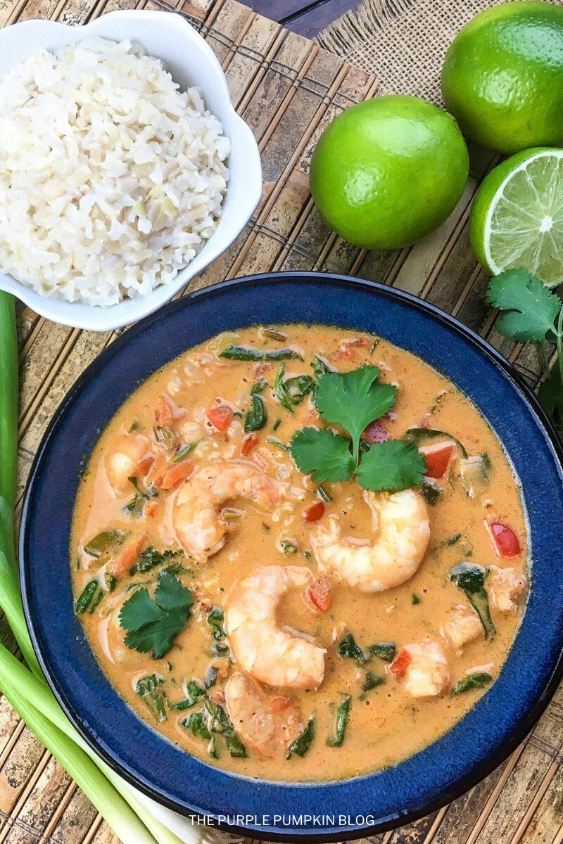 Thai Coconut Shrimp Soup and Rice on the Side