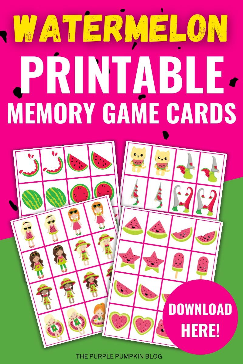 Watermelon Printable Memory Game Cards to Download