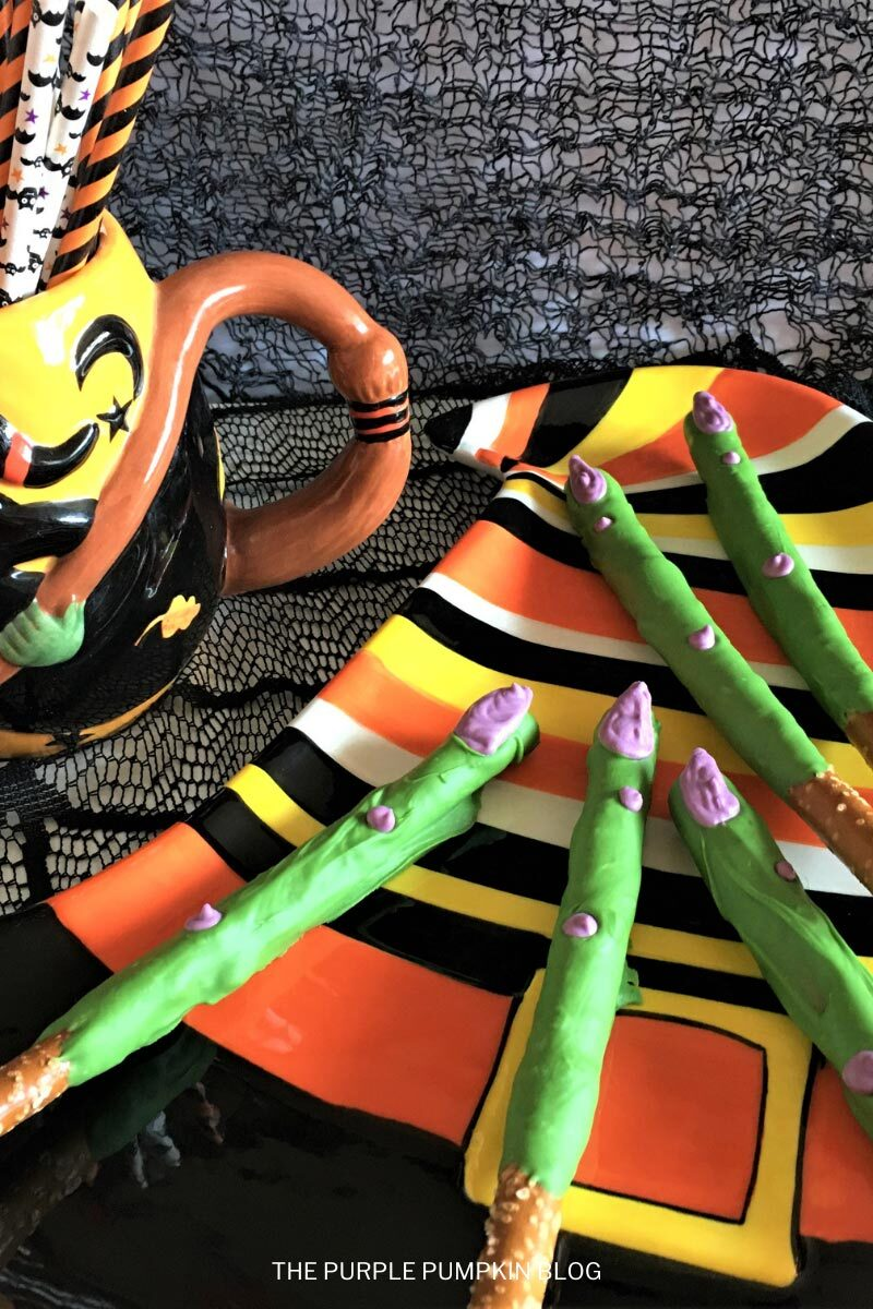 Candy-Coated Pretzel Rods (Witch Fingers!) for Halloween