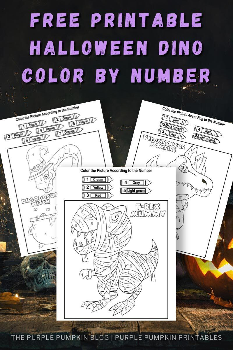 Free Printable Halloween Dino Color By Number