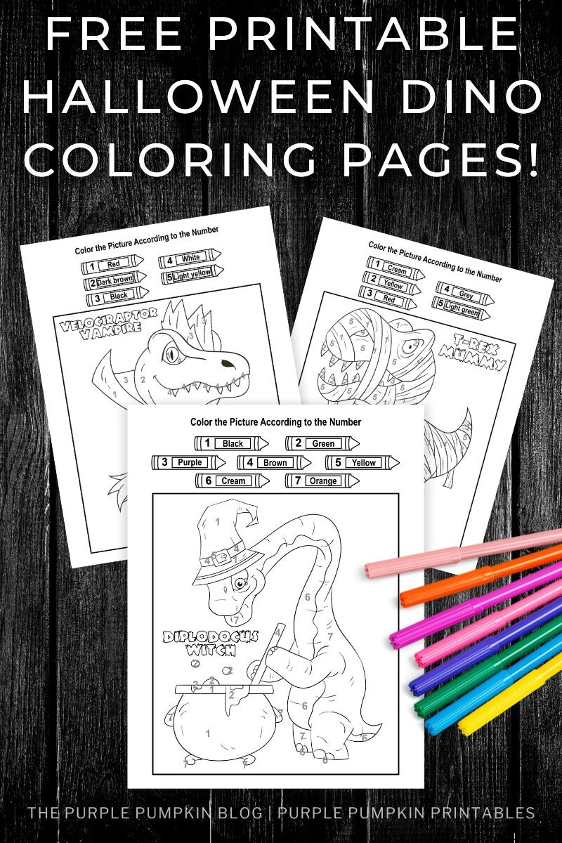 Free Printable Halloween Dino Coloring Pages
