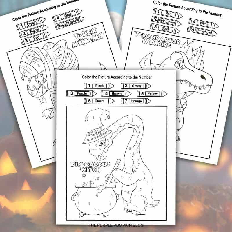 Halloween Dinosaur Color By Number Freebie