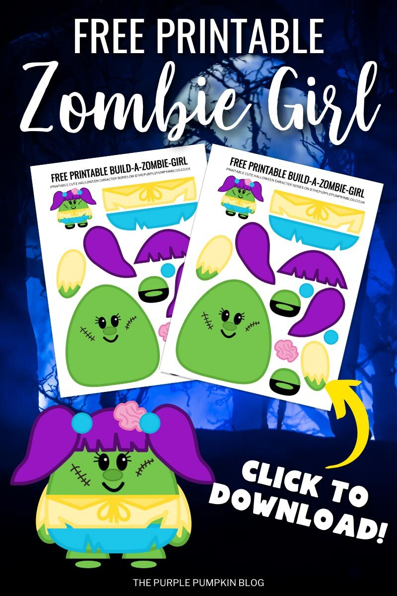 Free Printable Zombie Girl - Click to Download
